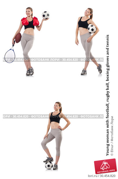 Young woman with football, rugby ball, boxing gloves and tennis. Стоковое фото, фотограф Elnur / Фотобанк Лори