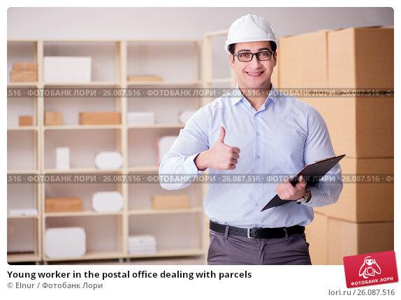 Купить «Young worker in the postal office dealing with parcels», фото № 26087516, снято 13 февраля 2017 г. (c) Elnur / Фотобанк Лори