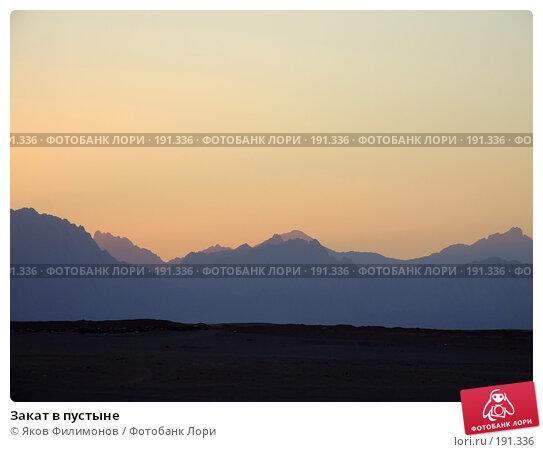 Закат в пустыне, фото № 191336, снято 13 января 2008 г. (c) Яков Филимонов / Фотобанк Лори
