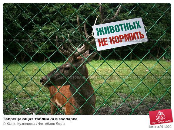 Запрещающая табличка в зоопарке, фото № 91020, снято 15 августа 2007 г. (c) Юлия Кузнецова / Фотобанк Лори