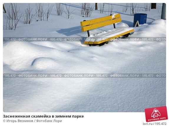 Заснеженная скамейка в зимнем парке, фото № 195472, снято 3 февраля 2008 г. (c) Игорь Веснинов / Фотобанк Лори