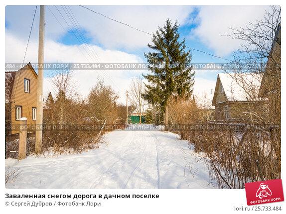 Купить «Заваленная снегом дорога в дачном поселке», фото № 25733484, снято 25 февраля 2017 г. (c) Сергей Дубров / Фотобанк Лори