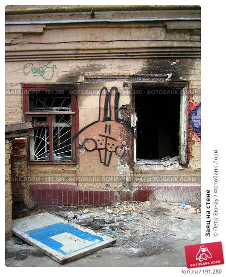 Заяц на стене, фото № 191280, снято 26 апреля 2005 г. (c) Петр Бюнау / Фотобанк Лори
