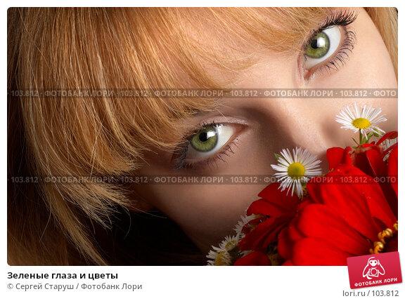 Купить «Зеленые глаза и цветы», фото № 103812, снято 22 апреля 2018 г. (c) Сергей Старуш / Фотобанк Лори