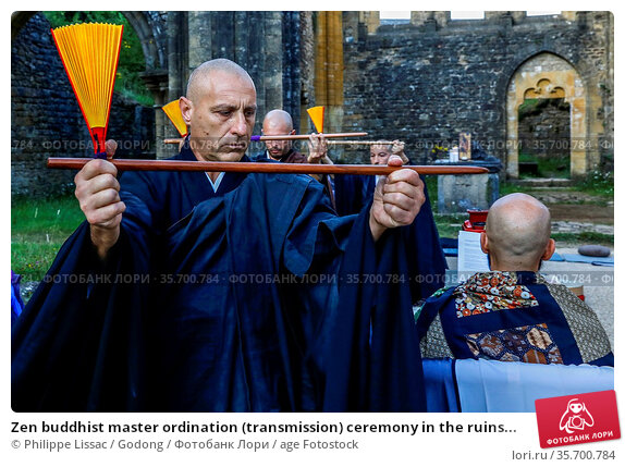 Zen buddhist master ordination (transmission) ceremony in the ruins... Стоковое фото, фотограф Philippe Lissac / Godong / age Fotostock / Фотобанк Лори
