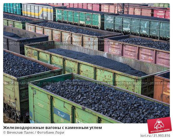 Купить «Железнодорожные вагоны с каменным углем», фото № 31993816, снято 22 апреля 2019 г. (c) Вячеслав Палес / Фотобанк Лори