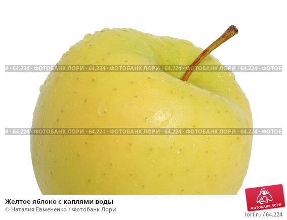 Желтое яблоко с каплями воды, фото № 64224, снято 3 июля 2007 г. (c) Наталия Евмененко / Фотобанк Лори
