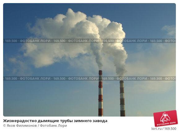 Жизнерадостно дымящие трубы зимнего завода, фото № 169500, снято 1 января 2008 г. (c) Яков Филимонов / Фотобанк Лори