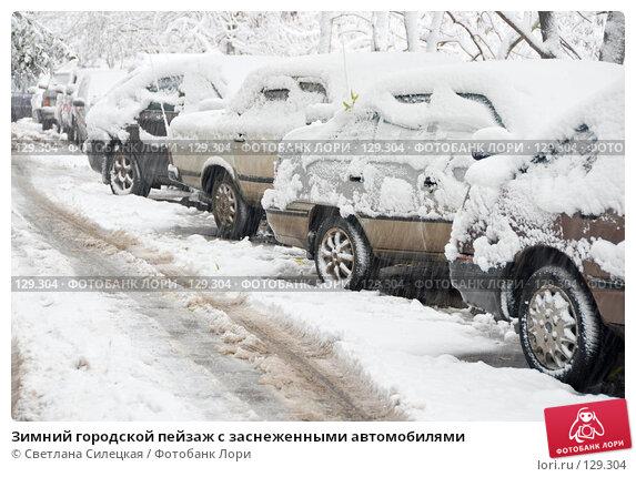 Купить «Зимний городской пейзаж с заснеженными автомобилями», фото № 129304, снято 15 октября 2007 г. (c) Светлана Силецкая / Фотобанк Лори