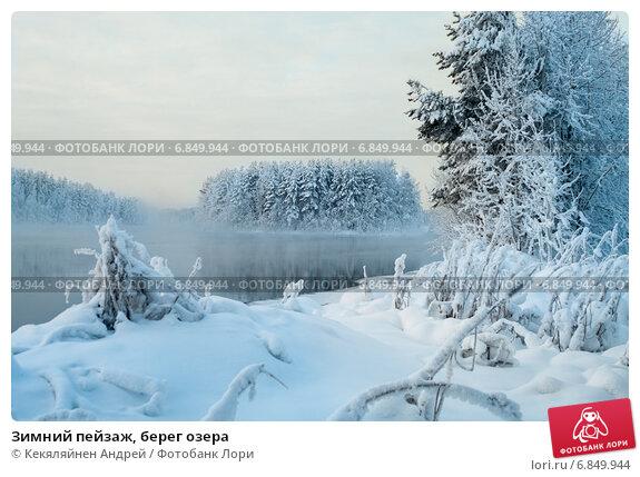 Зимний пейзаж, берег озера, фото № 6849944, снято 3 января 2011 г. (c) Кекяляйнен Андрей / Фотобанк Лори