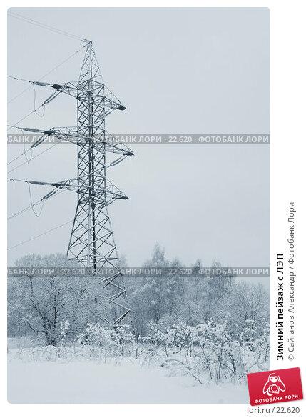 Зимний пейзаж с ЛЭП, фото № 22620, снято 15 февраля 2007 г. (c) Сайганов Александр / Фотобанк Лори