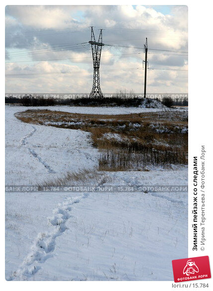 Зимний пейзаж со следами, эксклюзивное фото № 15784, снято 5 ноября 2006 г. (c) Ирина Терентьева / Фотобанк Лори