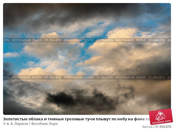 Купить «Золотистые облака и темные грозовые тучи плывут по небу на фоне голубого неба», фото № 31954876, снято 20 июля 2019 г. (c) А. А. Пирагис / Фотобанк Лори