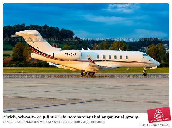 Zürich, Schweiz - 22. Juli 2020: Ein Bombardier Challenger 350 Flugzeug... Стоковое фото, фотограф Zoonar.com/Markus Mainka / age Fotostock / Фотобанк Лори